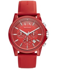 Ax Armani Exchange Unisex Chronograph Red Silicone Strap Watch 44Mm Ax1328