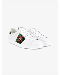 Gucci Crystal Lip Applique Leather Sneakers White Multi Coloured Green Indigo