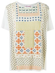 Isabela Capeto Print Embroidered Blouse Nude And Neutrals