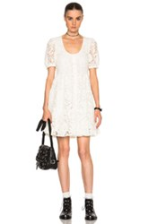 Saint Laurent Lace Babydoll Dress In White