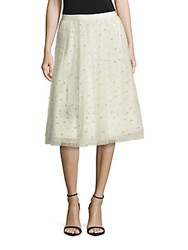 Alice Olivia Aubreanna Embellished Midi Skirt Cream
