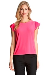 Cece By Cynthia Steffe Chiffon Flutter Sleeve Tee Pink Lily