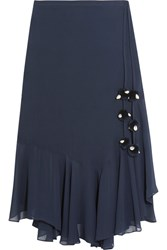 Figue Maxime Pompom Embellished Silk Georgette Skirt Midnight Blue