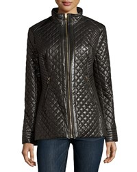 Via Spiga Quilted Zip Puffer Coat Black