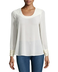 Romeo And Juliet Couture Long Sleeve Chiffon Blouse W Golden Detail Cream