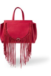 Paula Cademartori Bea Suede Trimmed Leather Tote Crimson