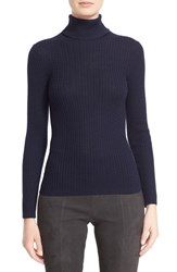 St. John Women's Collection Cable Knit Turtleneck Sweater Navy