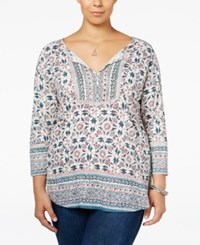 Lucky Brand Trendy Plus Size Embroidered Peasant Top Green Multi