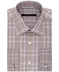 Sean John Men's Classic Fit Brown Check French Cuff Dress Shirt