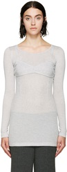Mm6 Maison Margiela Gray Faux Balconette Ribbed Top