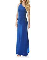 Laundry By Shelli Segal One Shoulder Embellished Matte Jersey Gown Blue Beret