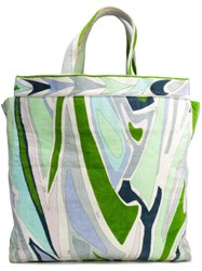 Emilio Pucci Vintage Abstract Print Velvet Tote Green