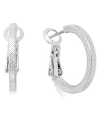 Charter Club Small Textured Hoop Earrings Silver