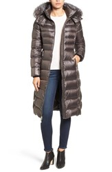 Andrew Marc New York Women's Down Coat With Genuine Fox Fur Trim Anthracite
