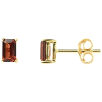 A B Davis 9Ct Gold Garnet Stud Earrings Red