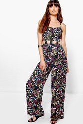 Boohoo Caged Cut Out Strappy Wide Leg Floral Jumpsuit Multi