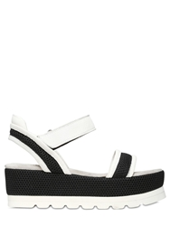 Fru.It 60Mm Leather And Nylon Wedge Sandals White Black