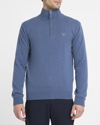 Gant Blue Lambswool Zip Neck Sweater