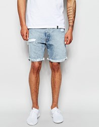 Levi's Denim Shorts 501 Customized Tapered Filtered Canyon Distressed Light Vintage Raw Hem Blue