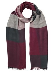 Jacques Vert Multi Check Scarf Dark Red