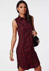 Missguided Sleeveless Button Up Midi Shirt Dress Red Check Red