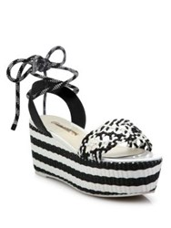 Sophia Webster Naomi Woven Leather Platform Espadrille Ankle Tie Sandals Black White