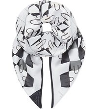 Aspinal Of London Marylebone Geometric Silk Scarf In Monochrome