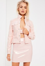Missguided Galore Pink Patent Faux Leather Jacket