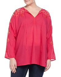 Johnny Was Plus Jessica Long Sleeve Embroidered Tunic Pink Berry