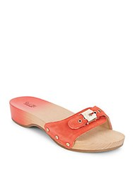 Dr. Scholl's Original Suede And Wood Wedge Slide Sandals Red