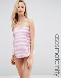Asos Maternity Sweetheart Pretty Stripe Tankini Bikini Top Pretty Pink Stripe Multi