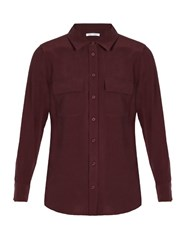 Equipment Slim Signature Washed Silk Shirt Burgundy