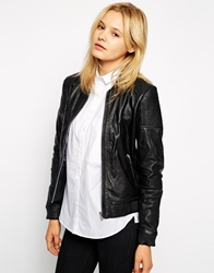 Mango Leather Bomber Jacket With Stitched Panels