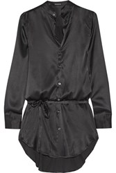 Ann Demeulemeester Stretch Silk Satin Shirt Black
