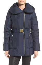 Cole Haan Women's Quilted Coat With Oversize Collar Navy