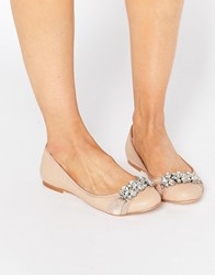 Faith Ashley Embellished Ballet Flats Nude Pu Pink