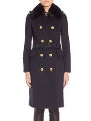 Burberry Fur Collar Wool And Cashmere Brickhill Trench Coat Navy