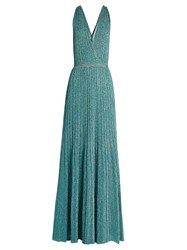 Missoni Twist Back Halterneck Knitted Maxi Dress Light Blue