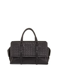 Bottega Veneta Monaco Small Intrecciato Satchel Bag Black Size S