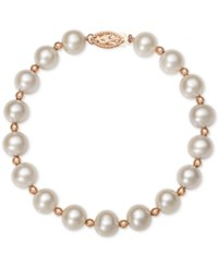 Belle De Mer White Cultured Freshwater Pearl 7 1 2Mm Bracelet In 14K Rose Gold Rose Gold And White Pearl