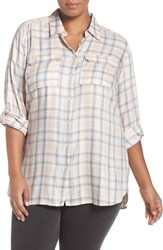 Vince Camuto Plus Size Women's Two By Plaid Twill Shirt