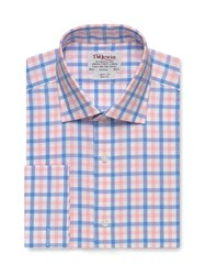 T.M.Lewin Check Slim Fit Long Sleeve Classic Collar Shirt Pink