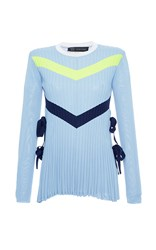 Versace Chevron Long Sleeve Tie Detail Knit Tee Blue Yellow White