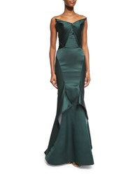 Zac Posen Pleated Strapless Satin Trumpet Gown Emerald