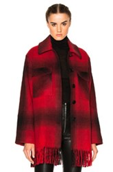 Alexander Wang T By Oversized Shirt Coat In Red Checkered And Plaid Red Checkered And Plaid