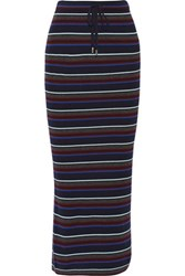 Alexander Wang T By Striped Ribbed Merino Wool Maxi Skirt Midnight Blue