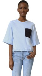 3.1 Phillip Lim Updated Boxy Tee With Crochet Pocket Baby Blue
