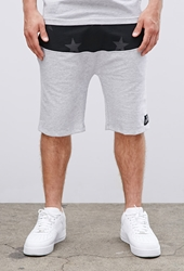 Forever 21 Sky Culture Paneled Star Print Sweatshorts Grey Black