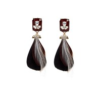 River Island Womens Red Feather Drop Earrings