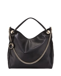 Class Roberto Cavalli Cameo Ostrich Embossed Trim Leather Hobo Bag Black